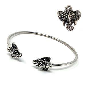 🐘Sterling Silver Elephant Buddies Cuff Bracelet